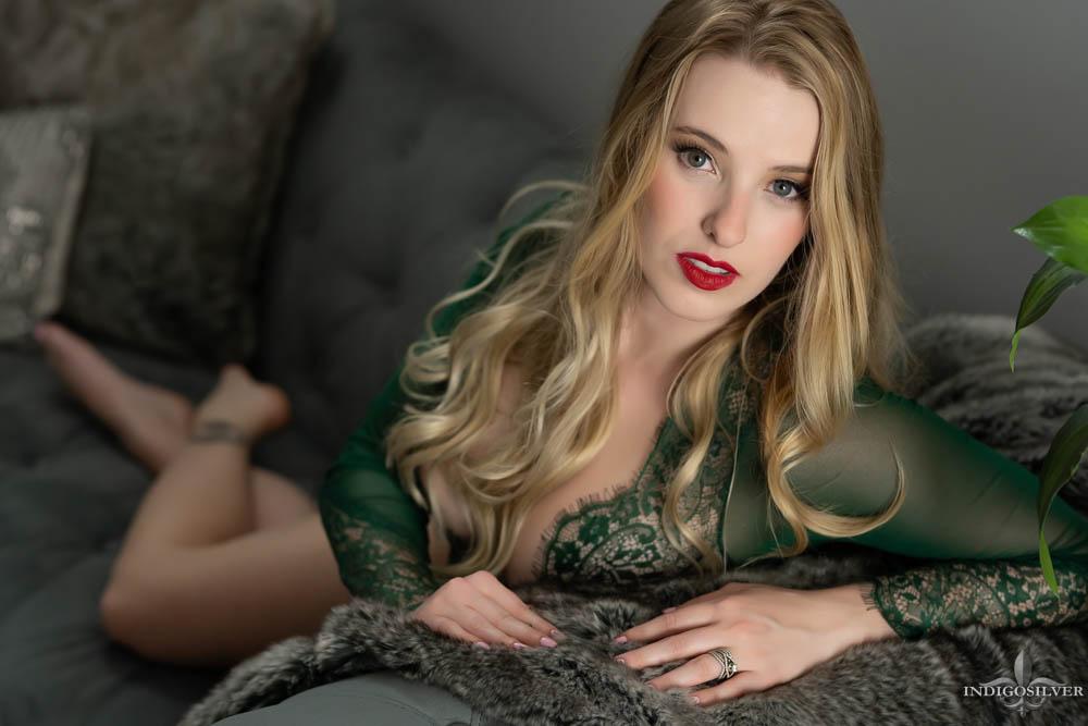 boudoir portrait in green lace bodysuit