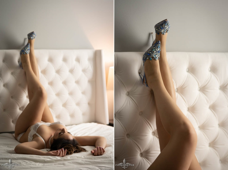 North Carolina boudoir wearing Rene Caovilla shoes