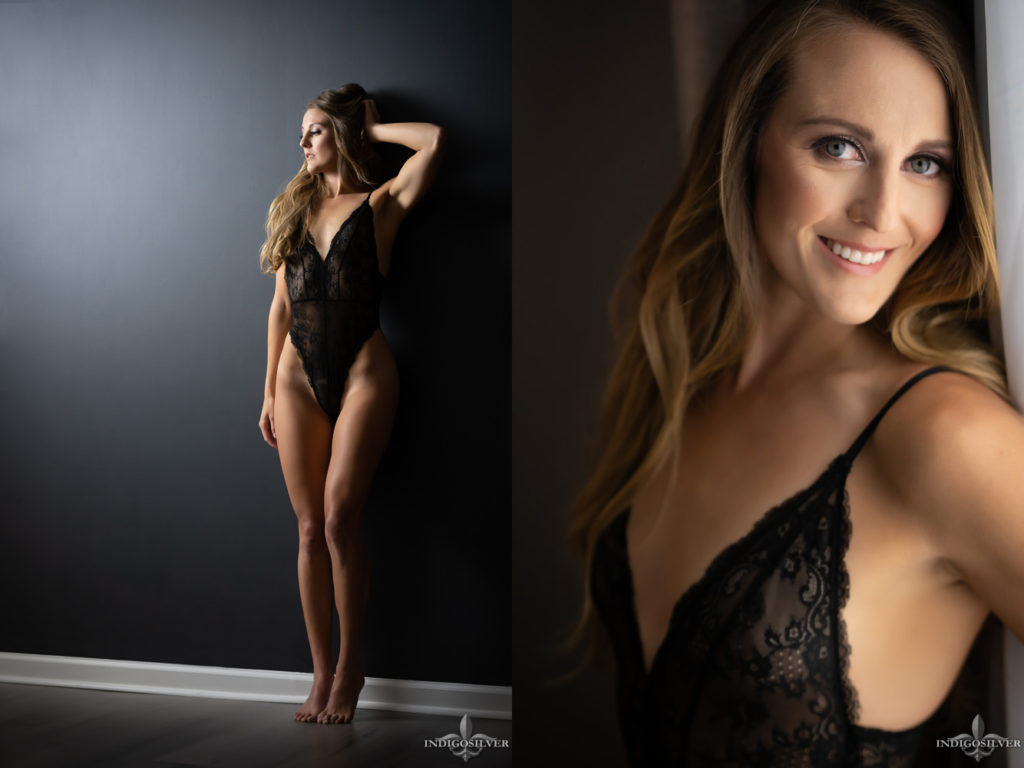 boudoir photo of woman standing against a wall